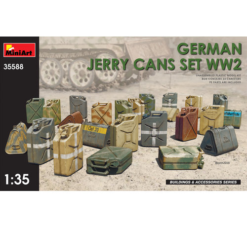 MiniArt Models (MNA) 3558 KIT CONTAINS 24 JERRY CANS 2 ASSEMBLING OPTIONS OF JERRY CAN LIDS 4 TYPES OF GERMAN 20L JERRY CANS PHOTO-ETCHED PARTS INCLUDED DECALS SHEET INCLUDED 1:358 GERMAN JERRY CANS SET WWII KIT CONTAINS 24 JERRY CANS 2 ASSEMBLING OPTIONS OF JERRY CAN LIDS 4