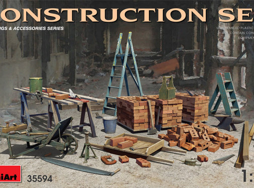 MiniArt Models (MNA) CONSTRUCTION SET Kit contains models of: ladders, table, buckets, bricks, cart, anvil, beams, jack stand and tools 1:35