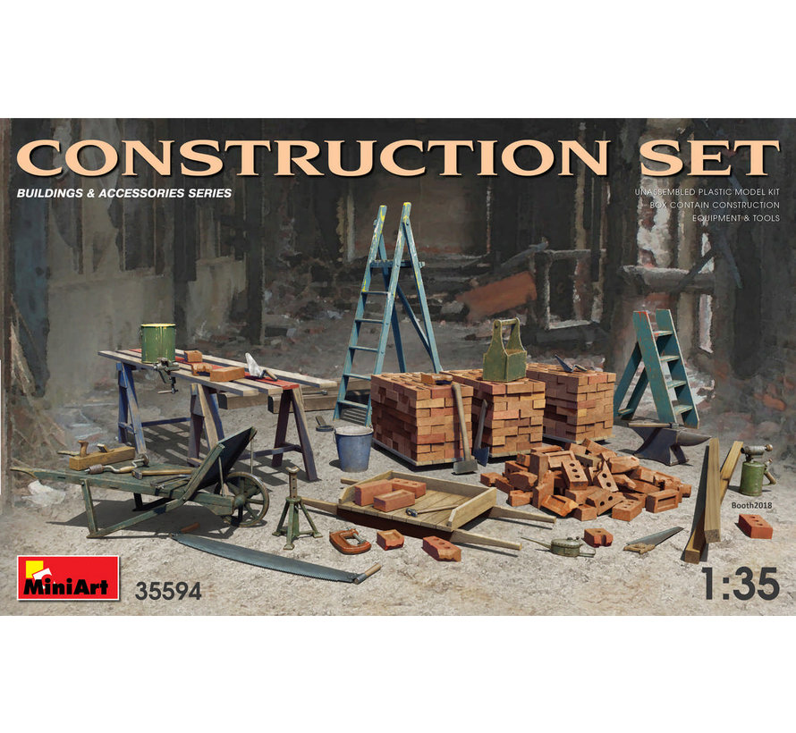 35594 CONSTRUCTION SET Kit contains models of: ladders, table, buckets, bricks, cart, anvil, beams, jack stand and tools 1:35