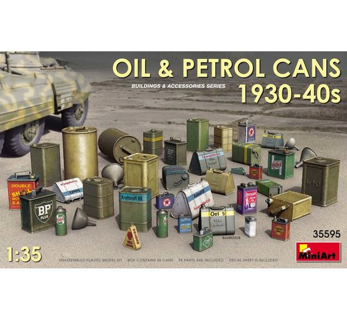 MiniArt Models (MNA) 35595 Oil and petrol cans from the 1930-40s. 1/35