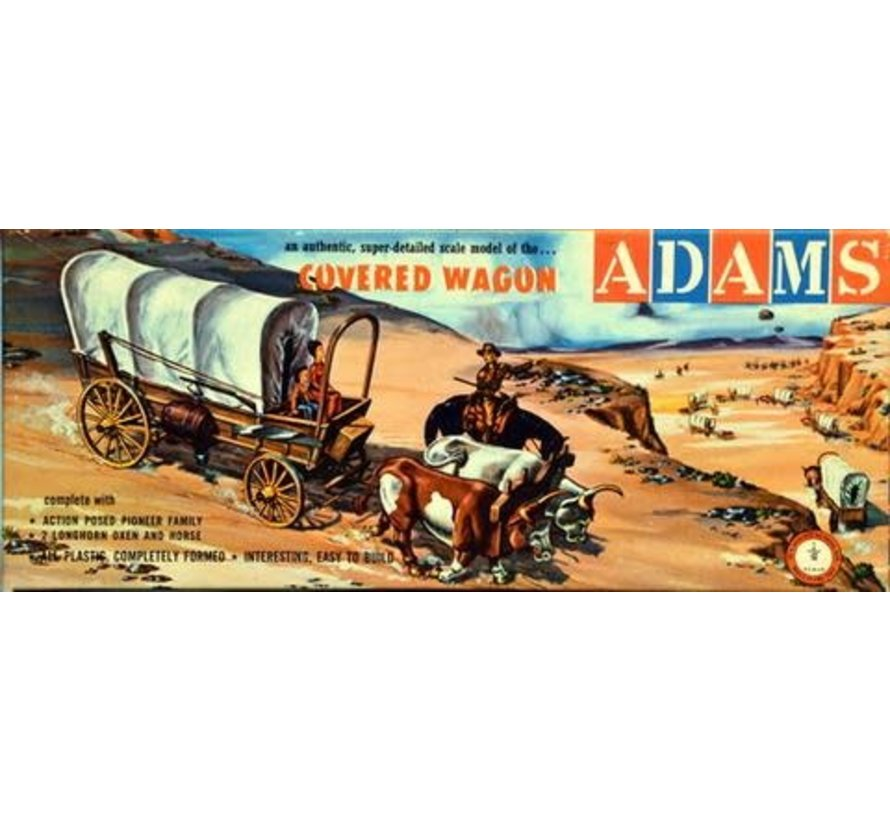 05402 Western Covered Wagon w/2 Oxen, 1 Horse & 3 Figures 1/48