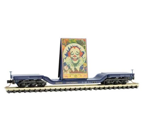 Micro-Trains Line (MTL) 489- 10900161 Heavyweight 6-Axle Depressed-Center Flatcar with Billboard Load - Ready to Run -- Ringling Bros.(R) Clown Billboard Series Car RBBX 106