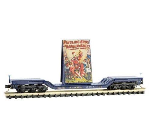 Micro-Trains Line (MTL) 489- 10900162 N Scale Heavyweight 6-Axle Depressed-Center Flatcar with Billboard Load - Ready to Run -- Ringling Bros.(R) Clown Billboard Series Car RBBX 105