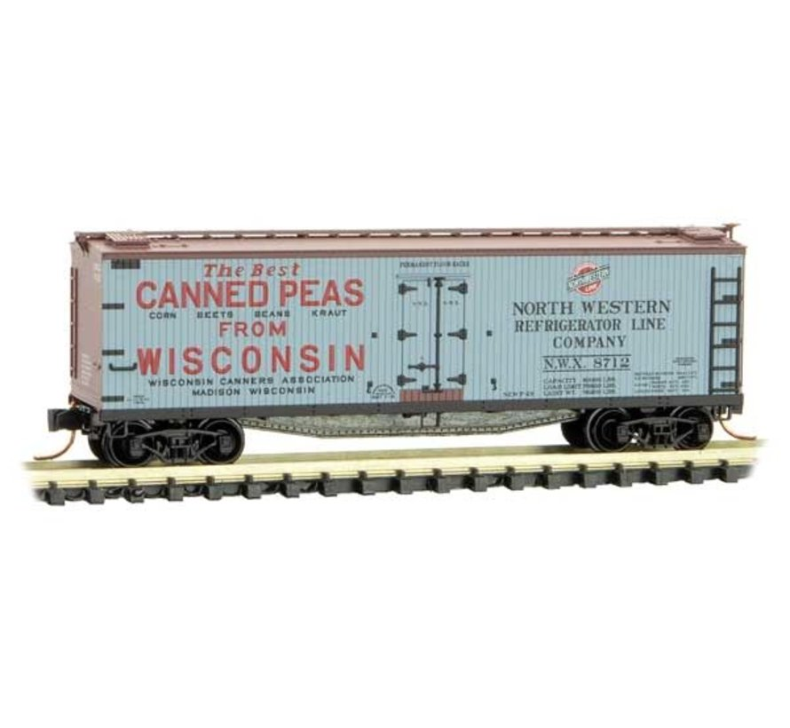 04900840 N Scale Double-Sheathed Wood Reefer with Vertical Brake Wheel - Ready to Run -- Wisconsin Canners Association NWX 8712 (gray, 40' Boxcar Red, Farm Table Series