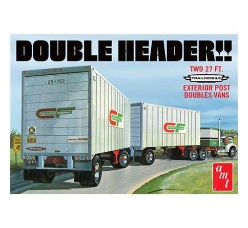 AMT Models (AMT) 1132 Tandem Van Trailers, Double Header 1/25