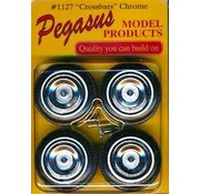 PGH - Pegasus Hobbies 1:24-1:25 Crossbars Chrome Rims w/Tires (4)