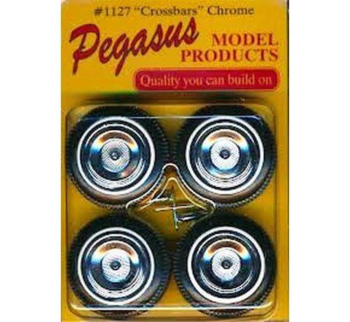 PGH - Pegasus Hobbies 1127  Crossbars Chrome Rims w/Tires (4) 1:24-1:25