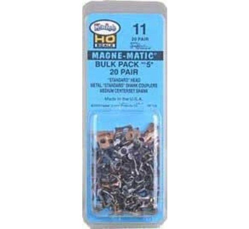 KAD - Kadee 11 Bulk Pack No.5 (R) Knuckle Couplers -- No Draft Gear Boxes 20 Pair