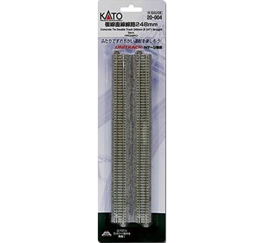 20-004 N scale Track 9-3/4 Double Straight Concrete Ties (2)