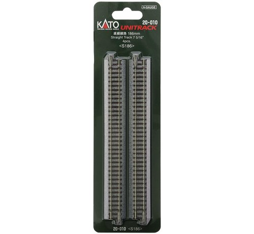 "Kato USA (KAT) 381- 20-010 N scale Track 186mm 7-5/16"" Straight (4)"