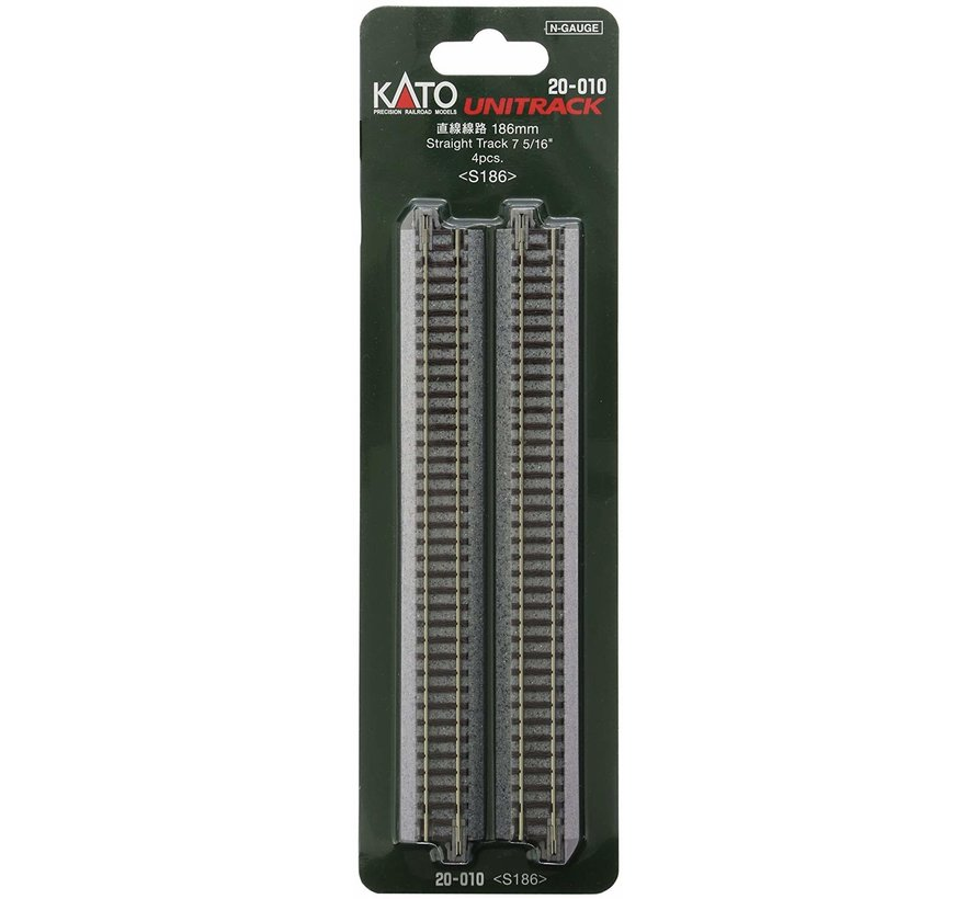 "20-010 N scale Track 186mm 7-5/16"" Straight (4)"