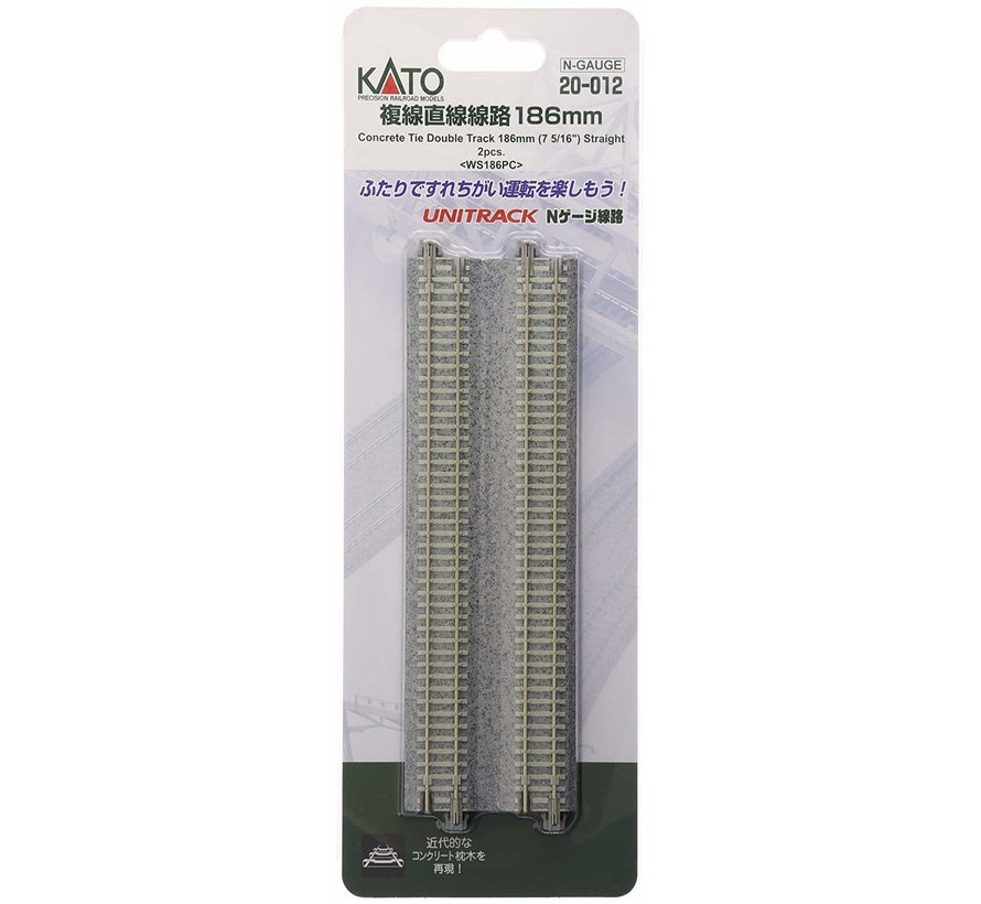 """20-012 N 7-5/16"""" Double Track Straight, Concrete Ties (2)"""