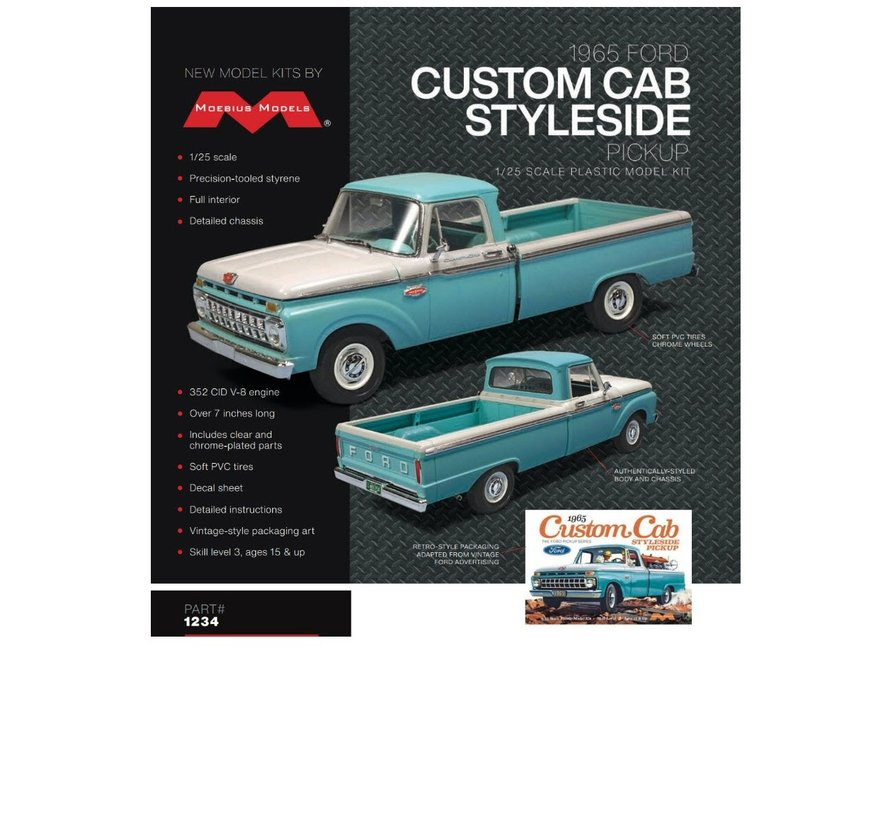 1234 Ford 1965 Custom Cab Styleside Pickup 1/25th Scale