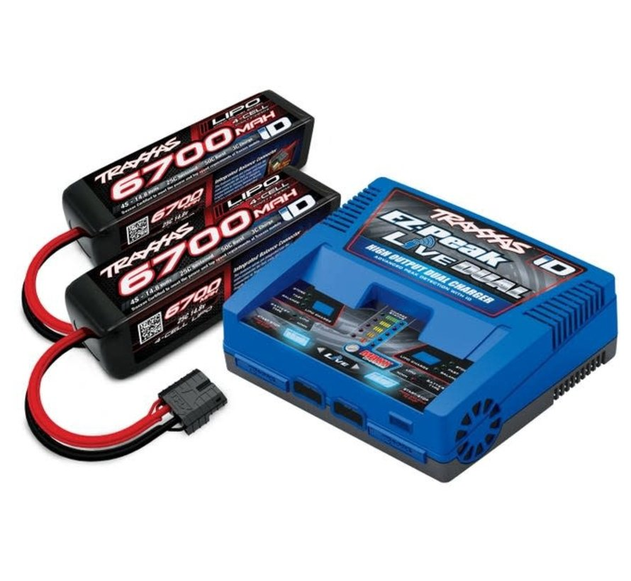 2997 Battery/charger completer pack (includes #2973 Dual iD charger (1), #2890X 6700mAh 14.8V 4-cell 25C LiPo battery (2))