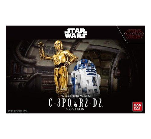 """Bandai 223297 C-3PO & R2-D2 """"Star Wars"""", Bandai Star Wars Character Line 1/12"""