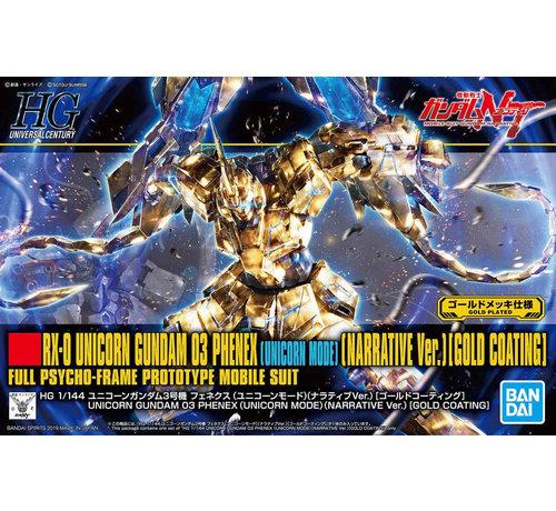 "Bandai 5058087 #227 Unicorn Gundam 03 Phenex Unicorn Mode (NT Ver.) [Gold Coating] ""Gundam NT"" Bandai HGUC 1/144"