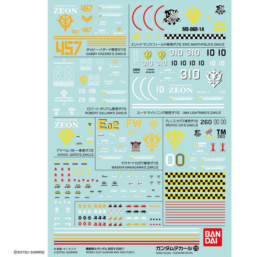 "221290 GUNDAM DECAL No.110 Multi-Use ""Mobile Suit Gundam MSV""  Bandai Decals"