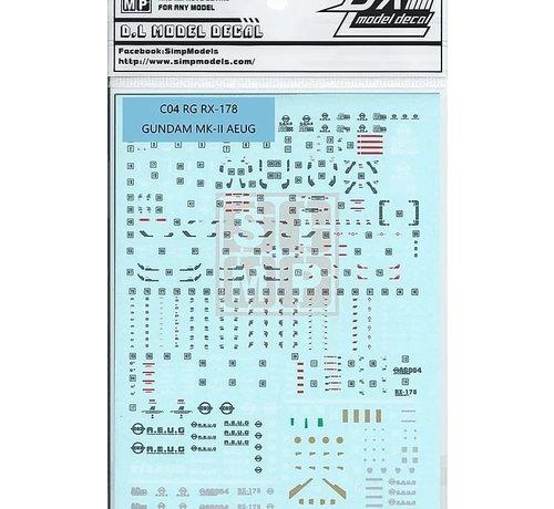 Super Indoors Men Pro (SIM) 0614C04 Water Decals RG RX-178 Gundam MK-II AEUG 1/144
