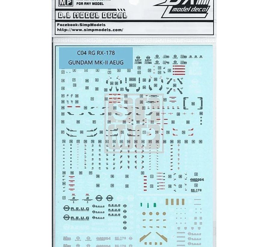 0614C04 Water Decals RG RX-178 Gundam MK-II AEUG 1/144