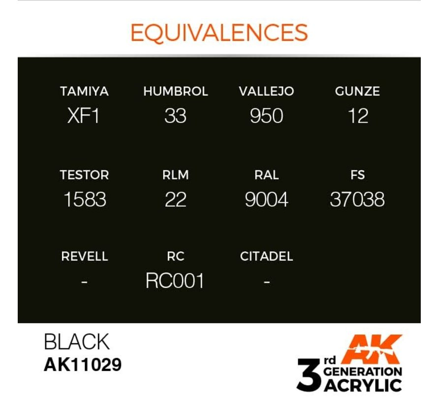 11029 AK Interactive 3rd Gen Acrylic Black 17ml