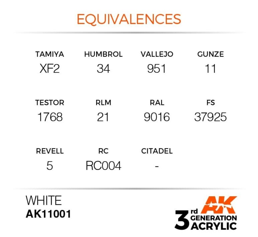 11001 AK Interactive 3rd Gen Acrylic White 17ml