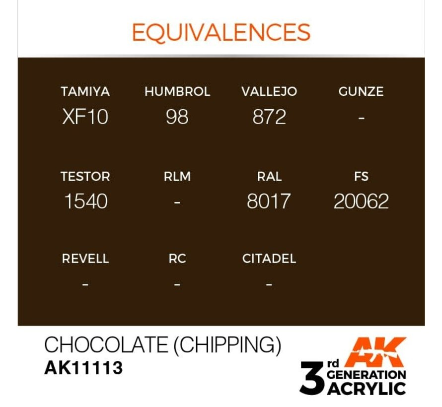 11113 AK Interactive 3rd Gen Acrylic Chocolate (Chipping) 17ml