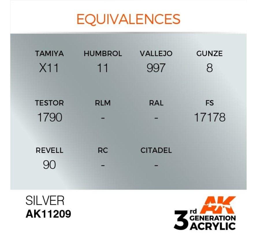 11209 AK Interactive 3rd Gen Acrylic Silver 17ml