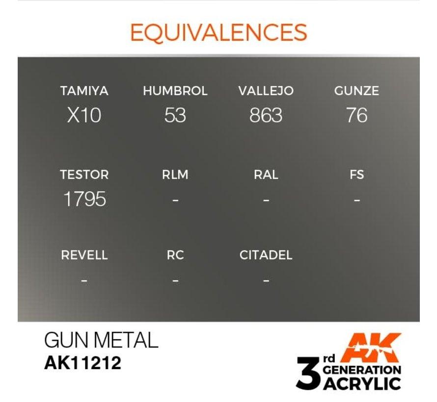 11212 AK Interactive 3rd Gen Acrylic Gun Metal 17ml