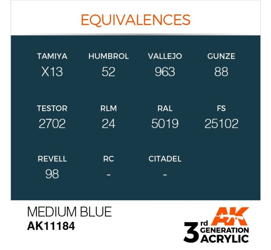 11184 Medium Blue 3rd Gen Acrylic 17ml