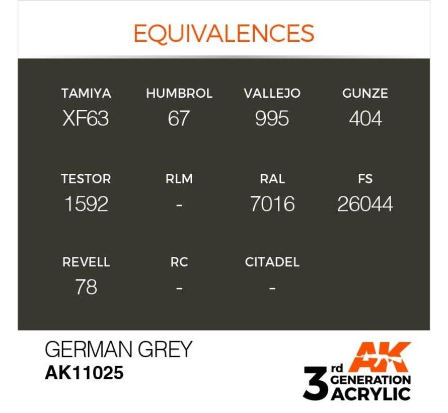 11025 AK Interactive 3rd Gen Acrylic German Grey 17ml