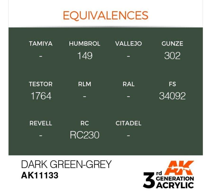 11133 AK Interactive 3rd Gen Acrylic Dark Green-Grey 17ml