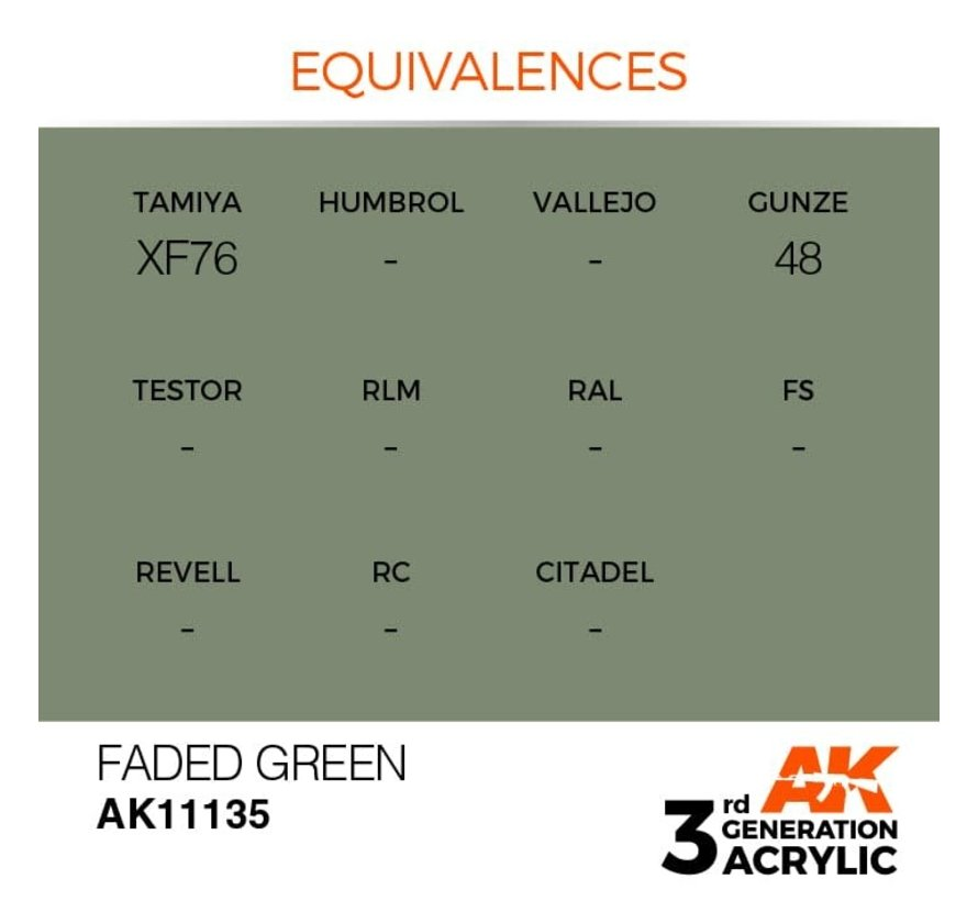 11135 AK Interactive 3rd Gen Acrylic Faded Green 17ml