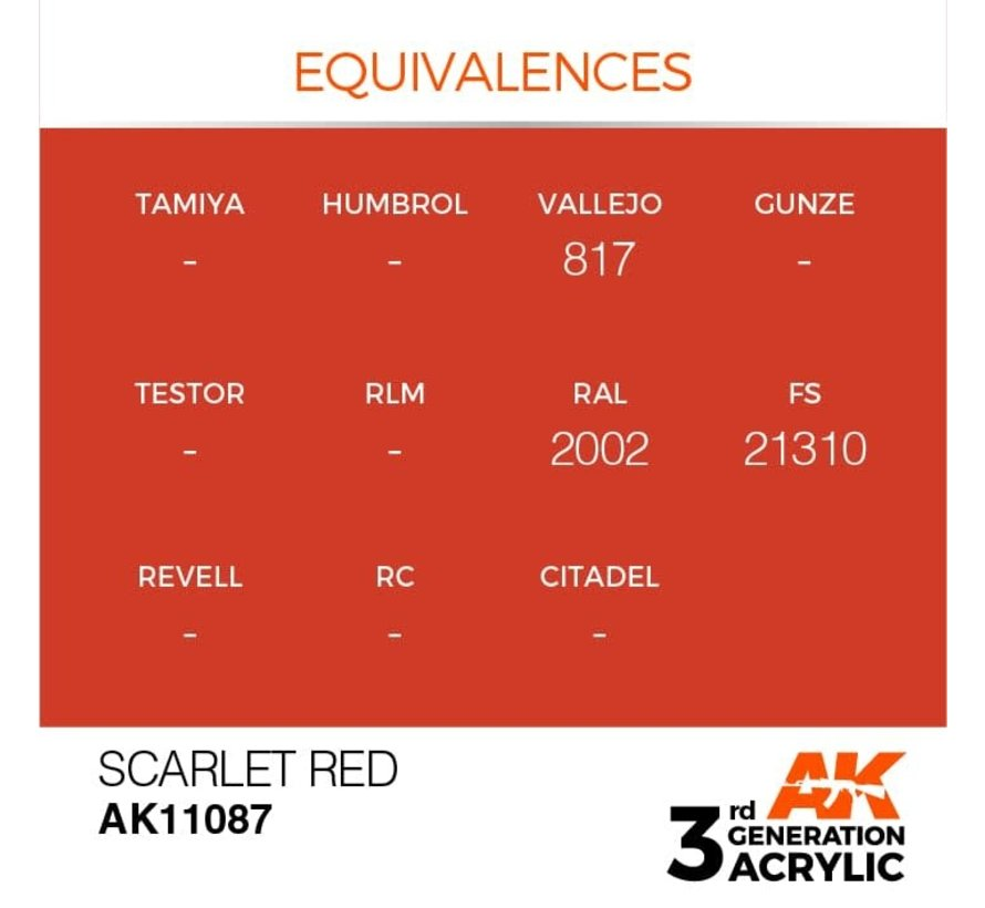 11087 AK Interactive 3rd Gen Acrylic Scarlet Red 17ml