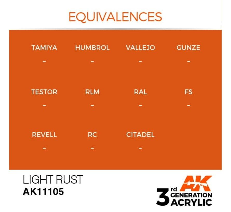 11105 AK Interactive 3rd Gen Acrylic Light Rust 17ml