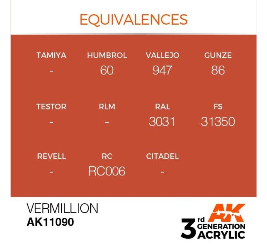 11090 AK Interactive 3rd Gen Acrylic Vermillion 17ml