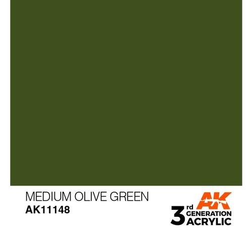 AK INTERACTIVE (AKI) 11148 AK Interactive 3rd Gen Acrylic Medium Olive Green 17ml