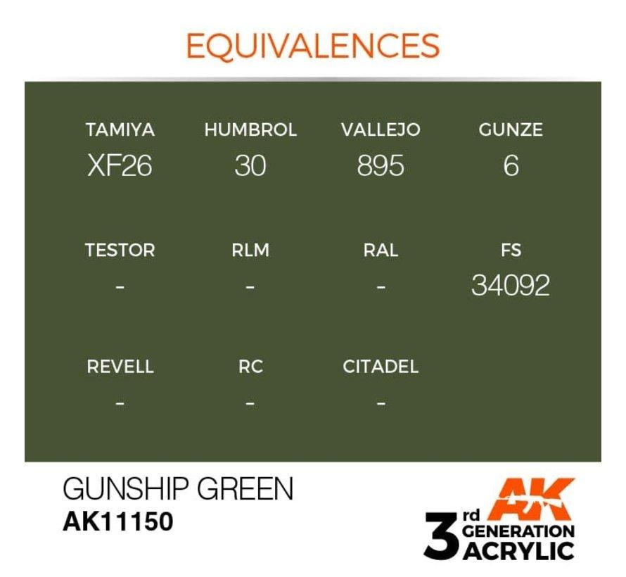 11150 AK Interactive 3rd Gen Acrylic Gunship Green 17ml