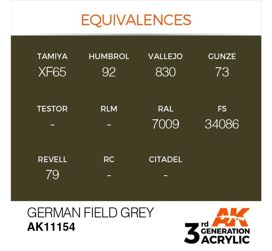 11154 AK Interactive 3rd Gen Acrylic German Field Grey 17ml
