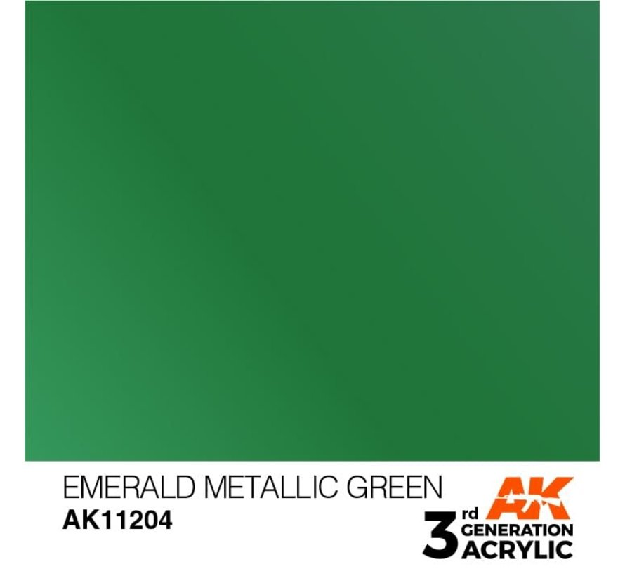 11204 AK Interactive 3rd Gen Acrylic Emerald Metallic Green 17ml