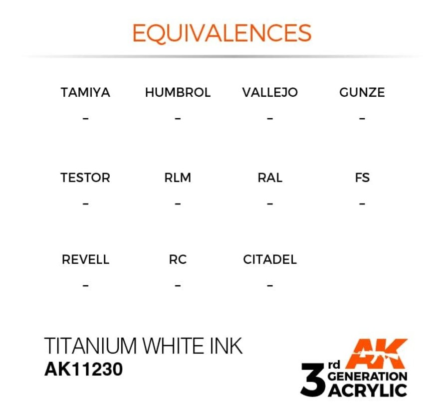 11230 AK Interactive 3rd Gen Acrylic Titanium White INK 17ml