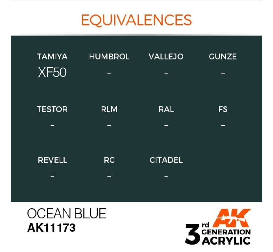 11173 AK Interactive 3rd Gen Acrylic Ocean Blue 17ml