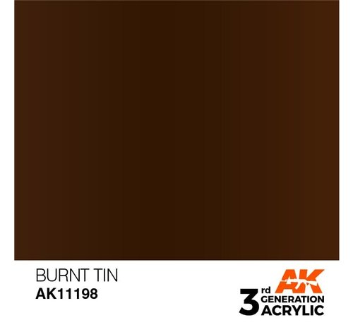 AK INTERACTIVE (AKI) 11198 Burnt Tin 3rd Gen Acrylic 17ml