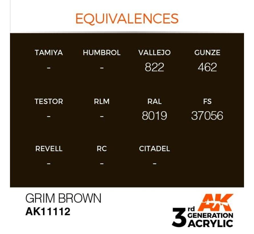11112 AK Interactive 3rd Gen Acrylic Grim Brown 17ml