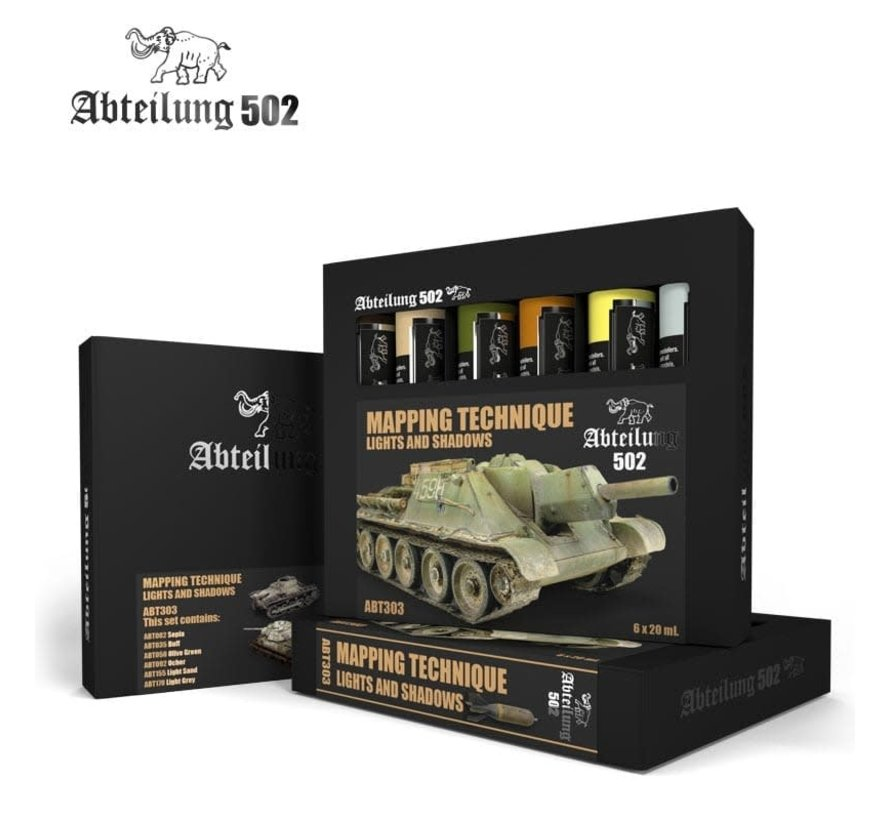 303 Mapping Technique Lights & Shadows Weathering Oil Paint Set (6 Colors) 20ml Tubes