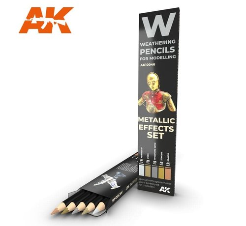 AK INTERACTIVE (AKI) 10046 Weathering Pencils: Metallic Effects Set (5 Colors)