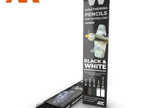 AK INTERACTIVE (AKI) 10039 Weathering Pencils: Black & White Shading &  Effects Set (5 Colors)