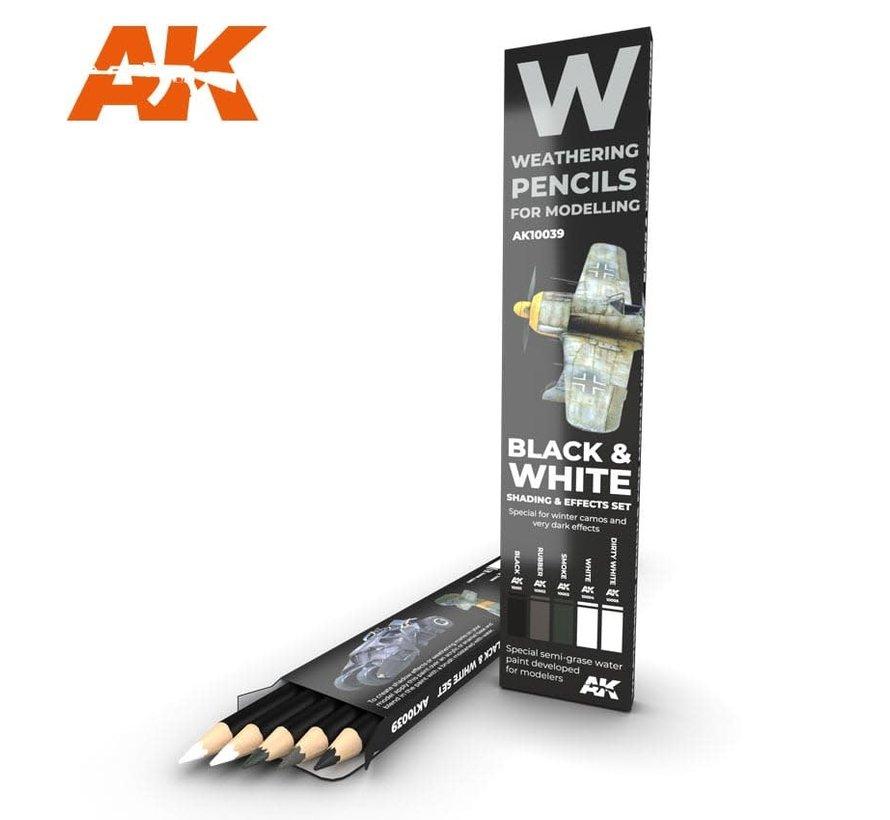 10039 Weathering Pencils: Black & White Shading &  Effects Set (5 Colors)