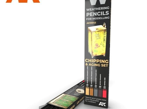 AK INTERACTIVE (AKI) 10042 Weathering Pencils: Chipping & Aging Set (5 Colors)