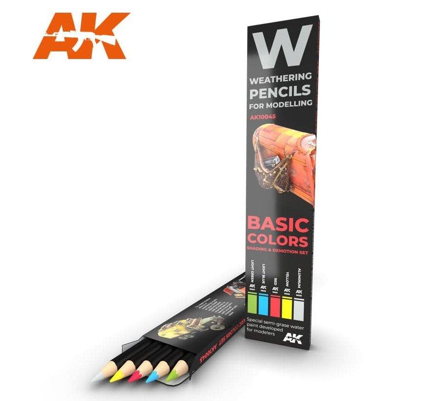 10045 Weathering Pencils: Basic Colors Shading &  Demotion Set (5 Colors)