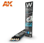 AK INTERACTIVE (AKI) 10043 Weathering Pencils: Grey & Blue Shading & Effects  Set (5 Colors)